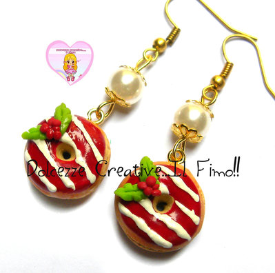 ☃ Natale In Dolcezze 2016 ☃ Orecchini Donut - Ciambelle con glassa rossa a strisce  - vischio