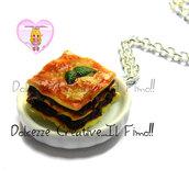 Collana pitto con lasagne - miniature kawaii handmade fimo cernit idea regalo