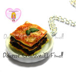 Collana pitto con lasagne - miniature kawaii handmade fimo cernit idea regalo