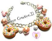 Bracciale Donut - Ciambelle con glassa rosa e codette - perle e cuori pastel goth