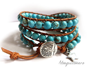 Bracciale da donna artigianale in cuoio e perle Howlite celeste stile etnico 3 giri pietra turchese