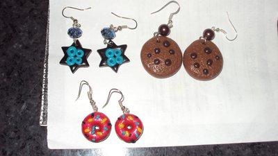 orecchini biscotto,stelline,ciambelle a pendente