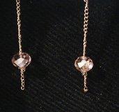 Orecchini dorati con cristallo rosa sfaccettato