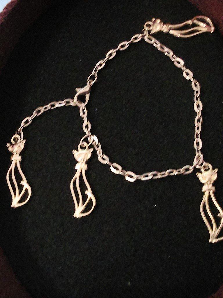 Bracciale/cavigliera con gatti in argento tibetano dorato