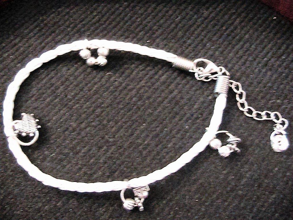Bracciale/cavigliera con rondella in strass ed elementi in argento tibetano