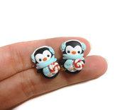 Orecchini a lobo pinguino inverno idea regalo natale fimo perno