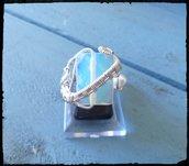 Anello in rame argentato con Opalite e perla d'acqua dolce