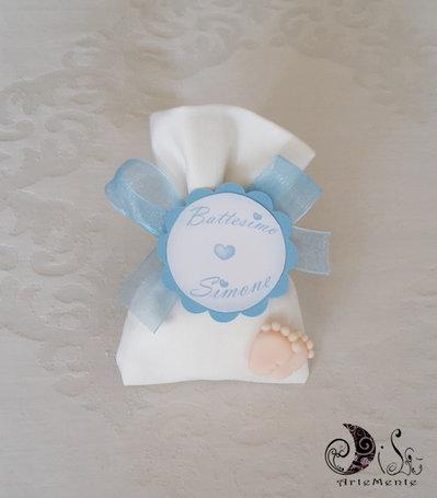 Bomboniera nascita e battesimo sacchetto portaconfetti con card art piedini per bimbo celeste