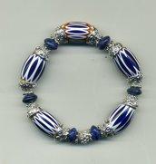 Bracciale elastico con ovali in ceramica dipinta a mano e lapis