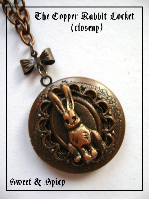 COPPER RABBIT LOCKET-CIONDOLO PORTAFOTO ALICE IN WONDERLAND CON BIANCONIGLIO