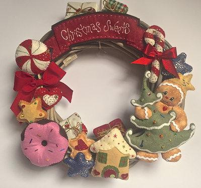 NATALE - ghirlanda ginger con albero di Natale  in tessuto e feltro
