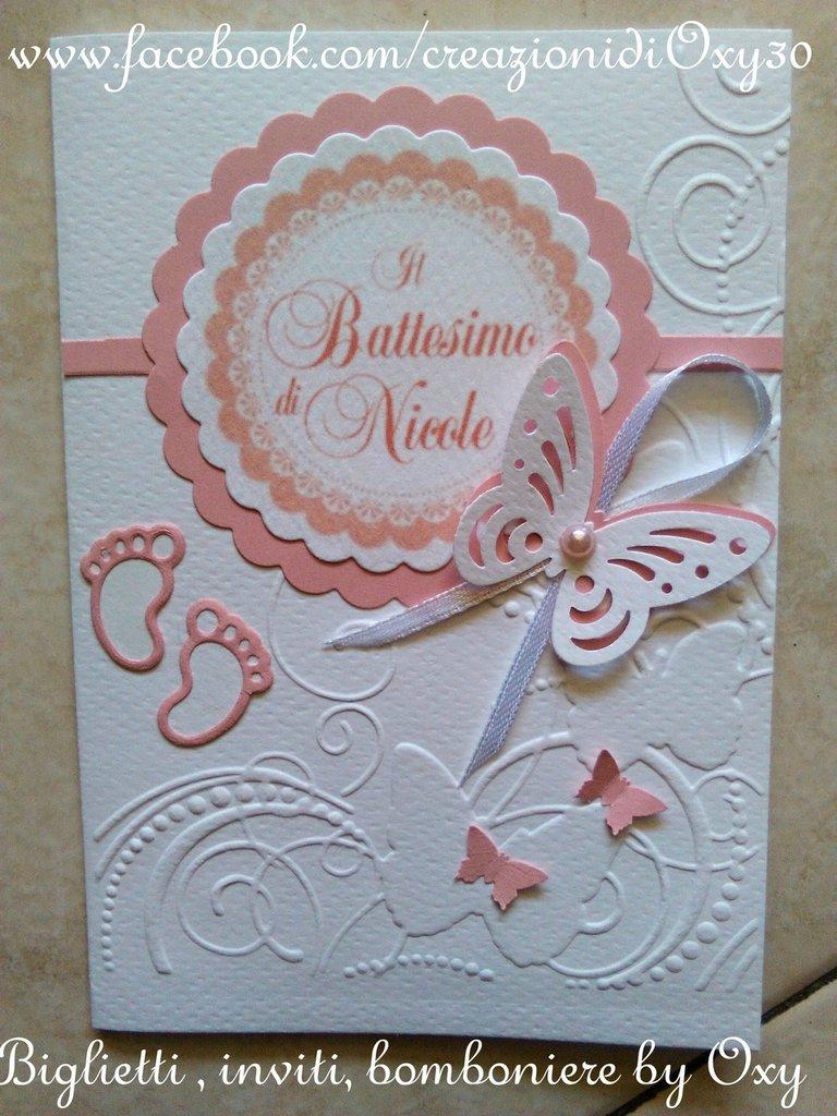 """Biglietto-invito per Battesimo o Nascita """"Farfalle e piedini"""""""