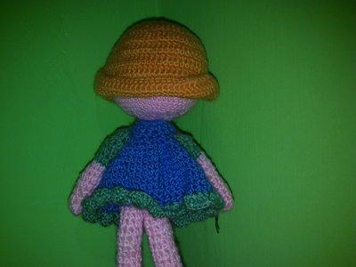 Bambola Amigurumi Uncinetto Con Vestito Blu Per La Casa E Per Te