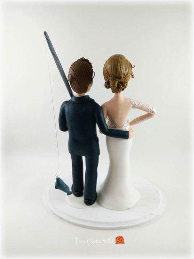 Cake topper sposi con canna da pesca