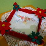 Cestino natalizio in  feltro portatovaglioli con stelle di Natale.
