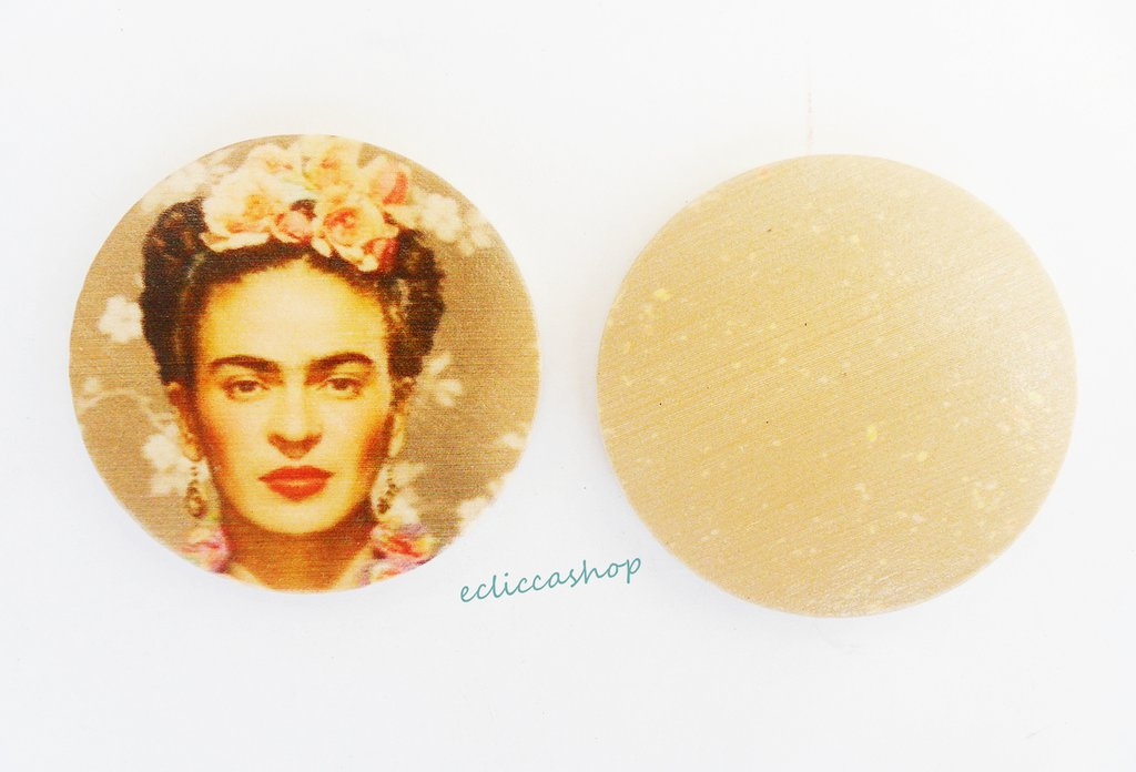 Medaglione ciondolo in legno GRANDE raffigurante Frida Kahlo 45 mm 1pz