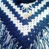 Poncho bambina bianco e blu