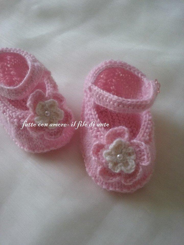 scarpine bimba in lana tipo ballerina in rosa