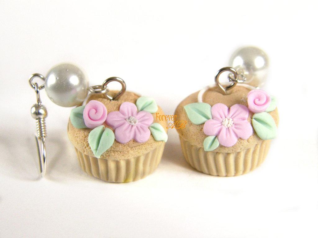 Orecchini Muffin cupcake fiori rosa  idea regalo fimo ragazza donna