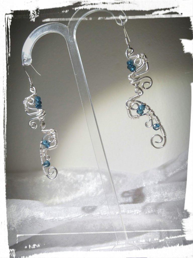 Orecchini in Argento 925 con Topazi london blue