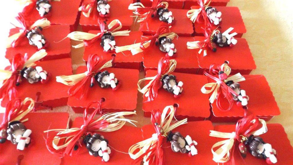 Bien-aimé BOMBONIERA COMPLETA con scatolina confetti PER LAUREA - fimo - FO  BB88