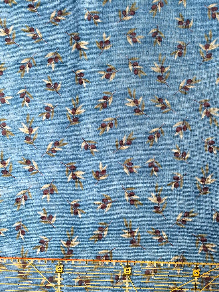 TESSUTI AMERICANI PER REALIZZAZIONI PATCHWORK - azzurro carta da zucchero con olive