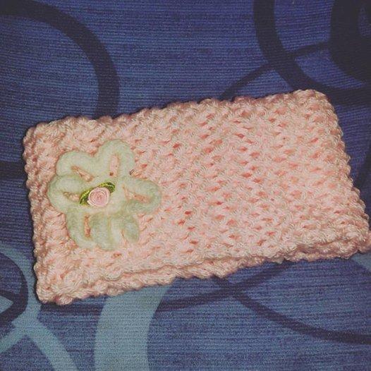 Scaldacollo ad anello FATTO a MANO ai ferri a punto legaccio handmade scarf rosa bambina