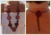 Collana di bottoni rosso/bordeaux