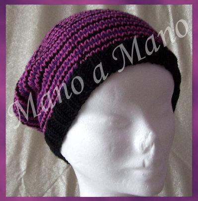 Cappello abbondante - nero viola rosa