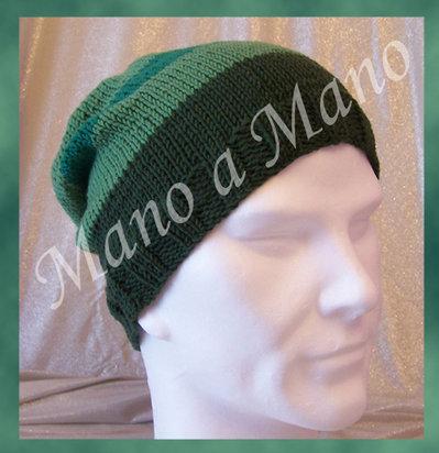 Cappello abbondante a righe - Verde