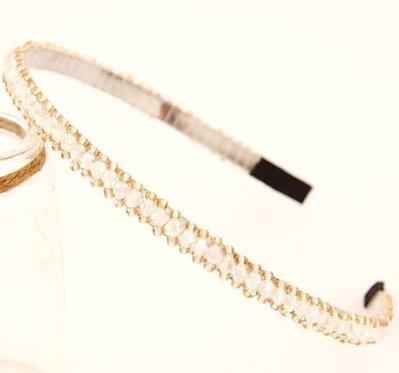 Cerchietto con perline bianche e champagne idea regalo Natale per lei