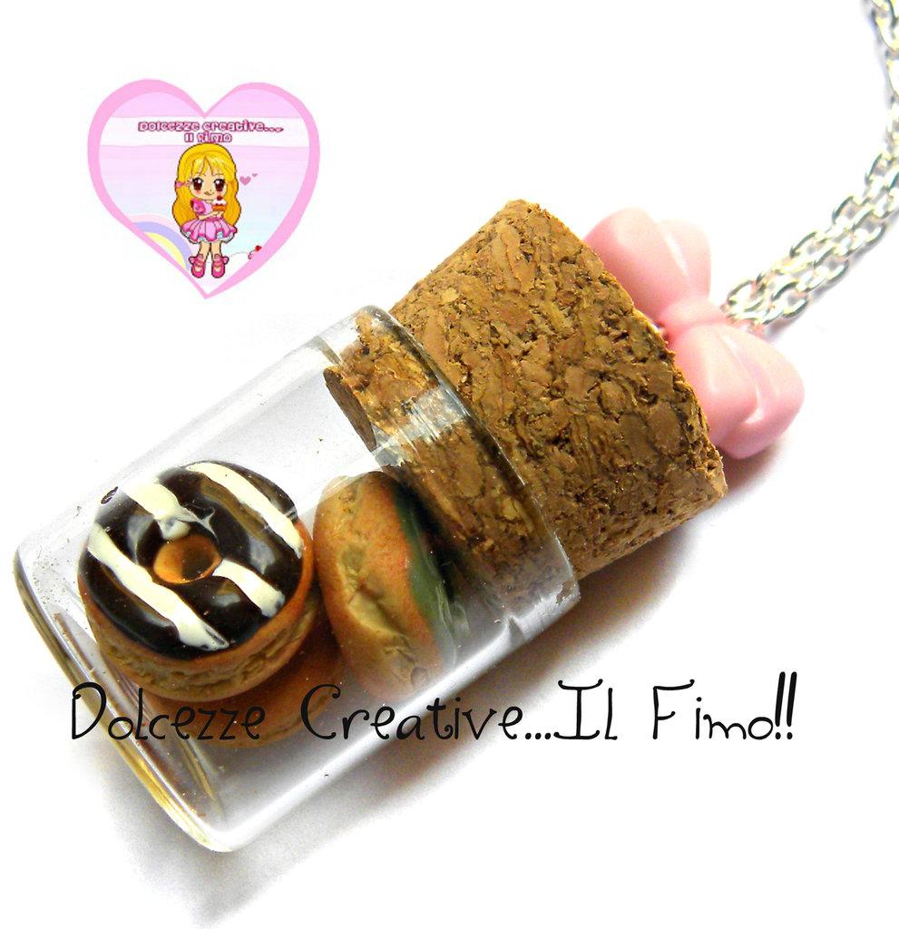 Collana barattolo donut - ciambelle glassate fragola, cioccolato - kawaii idea regalo
