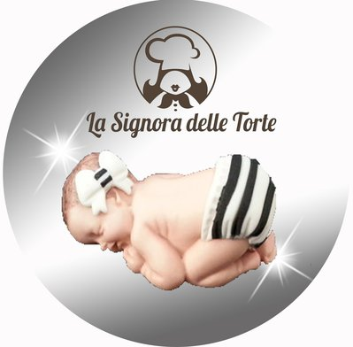 Topper Decorazione TORTA Battesimo _ JUVE _ Neonato Realizzato a mano PDZ