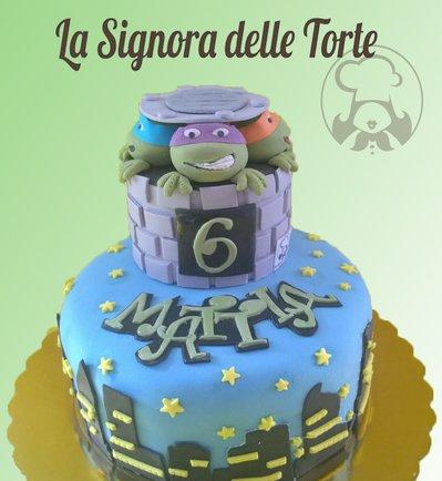 Topper TORTA TARTARUGHE NINJA Realizzato a mano Turtles Compleanno_TORTE_Cialde