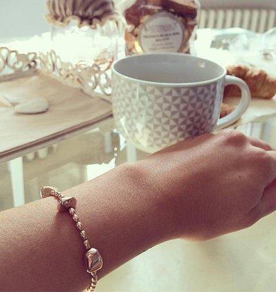 Bracciale ovaline con pepite argento 925 Rosé
