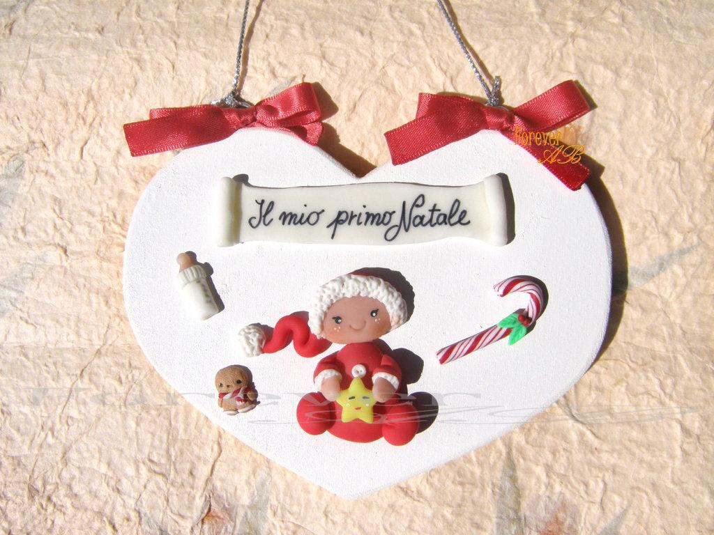 Targhetta a cuore primo Natale bambino bambina idea regalo fimo