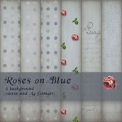 DIGITAL PAPER / CARTA DIGITALE - ROSES ON BLUE
