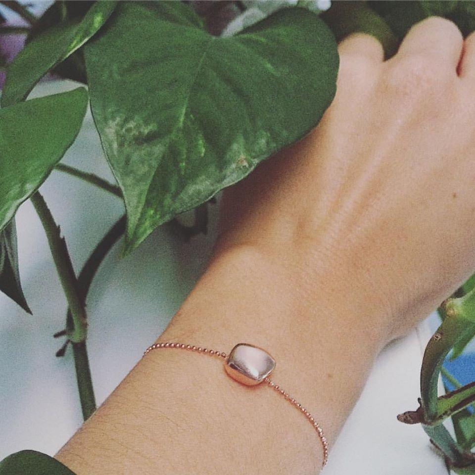 Bracciale catena a palline con pepita centrale argento 925 Rosé