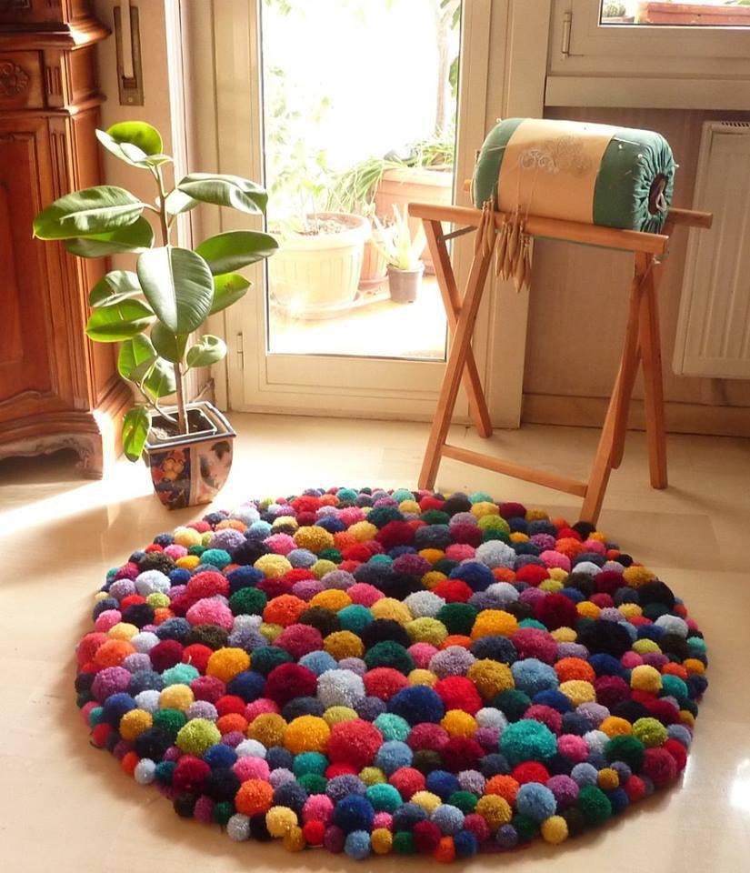 tappeto multicolor di pon pon - per la casa e per te - camera da