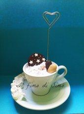 portafoto tazza con piattino con biscotti in pasta polimerica