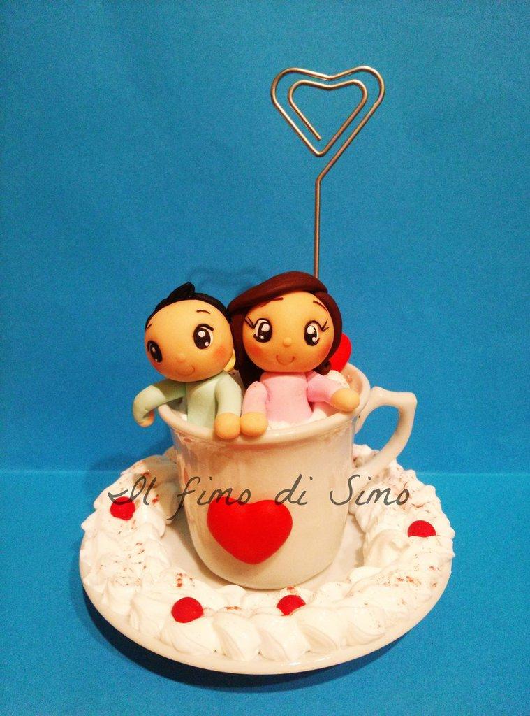 portafoto tazza con piattino con innamorati in pasta polimerica