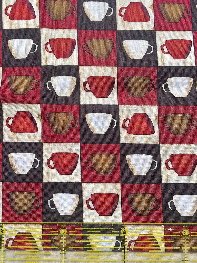 TESSUTI AMERICANI PER REALIZZAZIONI PATCHWORK - tazzine di caffè