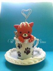 portafoto tazza con gattini in pasta polimerica