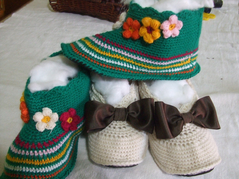 pantofole lana maglia uncinetto