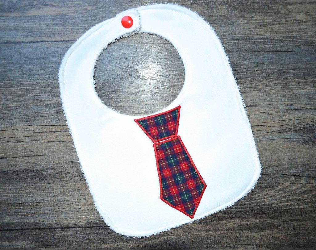 Bavaglino con cravatta a quadretti rossi