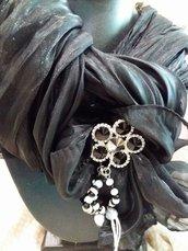 foulard nero lurex gioiello