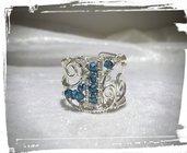 Anello in Argento 925 con Topazi london blue