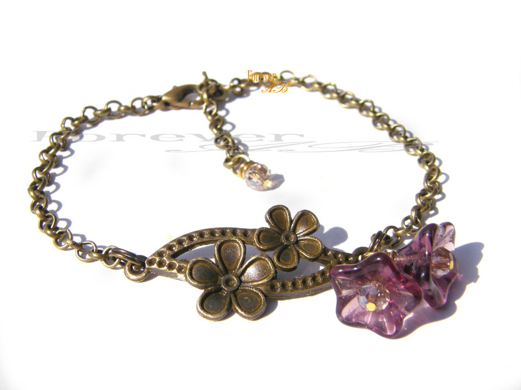 Braccialetto con fiori viola e bronzo idea regalo donna ragazza