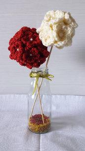 Centrotavola Matrimonio uncinetto fiori, matrimonio invernale, vintage, shabby chic, rosso, ecologico