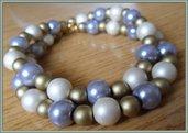 Bracciale donna doppia fila a tre colori di perle